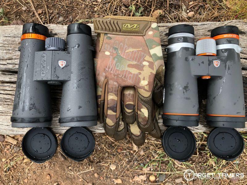 Maven C.3 12x50 binoculars next to Maven B.6 12x50 binoculars