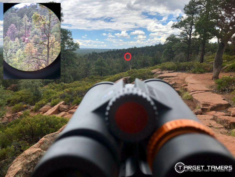 distance shot looking through C.3 12x50 binoculars